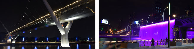 Dubai water canal lighting