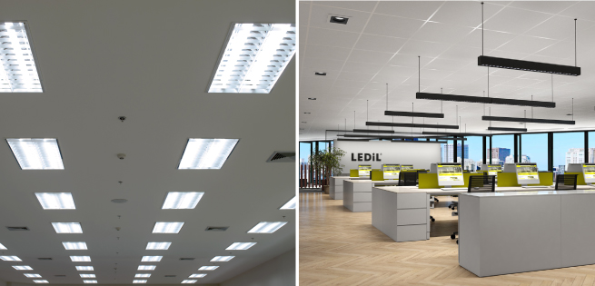 From old fashioned fluorecent troffers to modern office lighting
