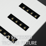 Recessed troffer luminaire example for office lighting