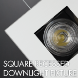 Square recessed downlight luminaire example for office lighting