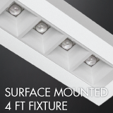 Surface mounted 4ft luminaire example for office lighting