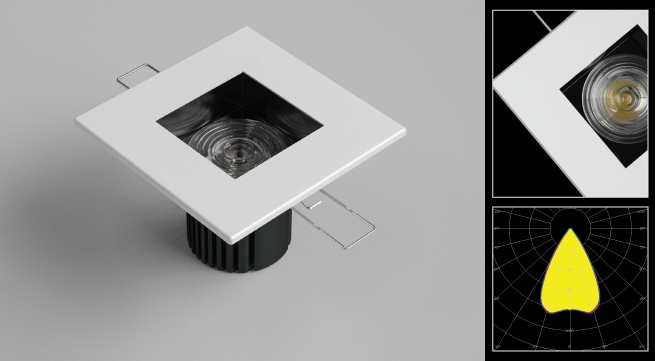 LEDiL square recessed downlight office luminaire example