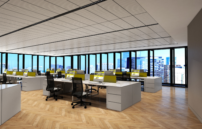 Room related office lighting concept example