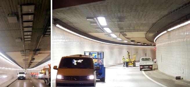 Broll made tunnel lighting luminaires using LEDiL optics
