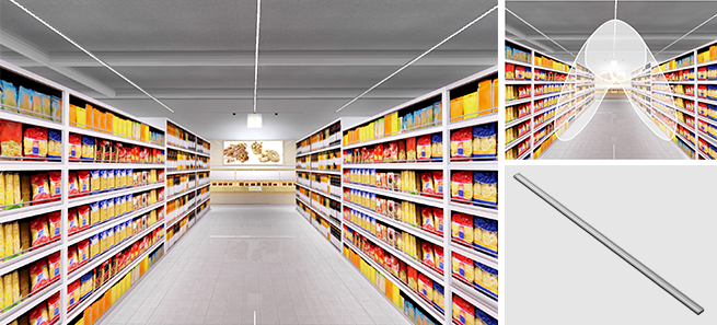 Aisle lighting with linear luminaires providing asymmetric light distribution