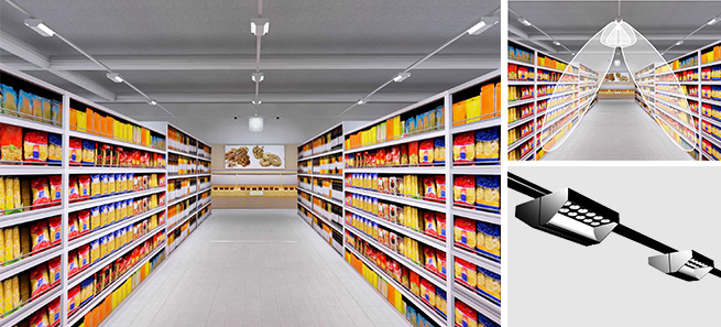 Supermarket aisle lighting with track lights with lenses