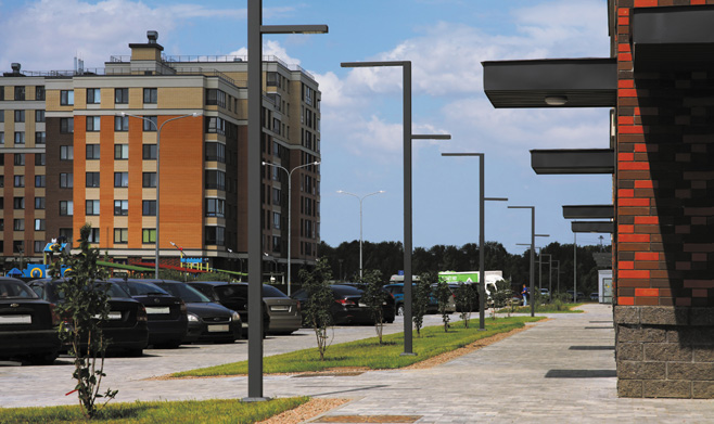 Saros Stalker Joker street and area lighting luminaire with LEDiL STRADA-IP-2X6-DWC LED optics