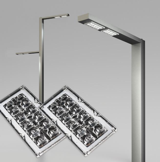 Stalker Joker street and area lighting luminaire using LEDiL STRADA-IP-2X6-DWC optics