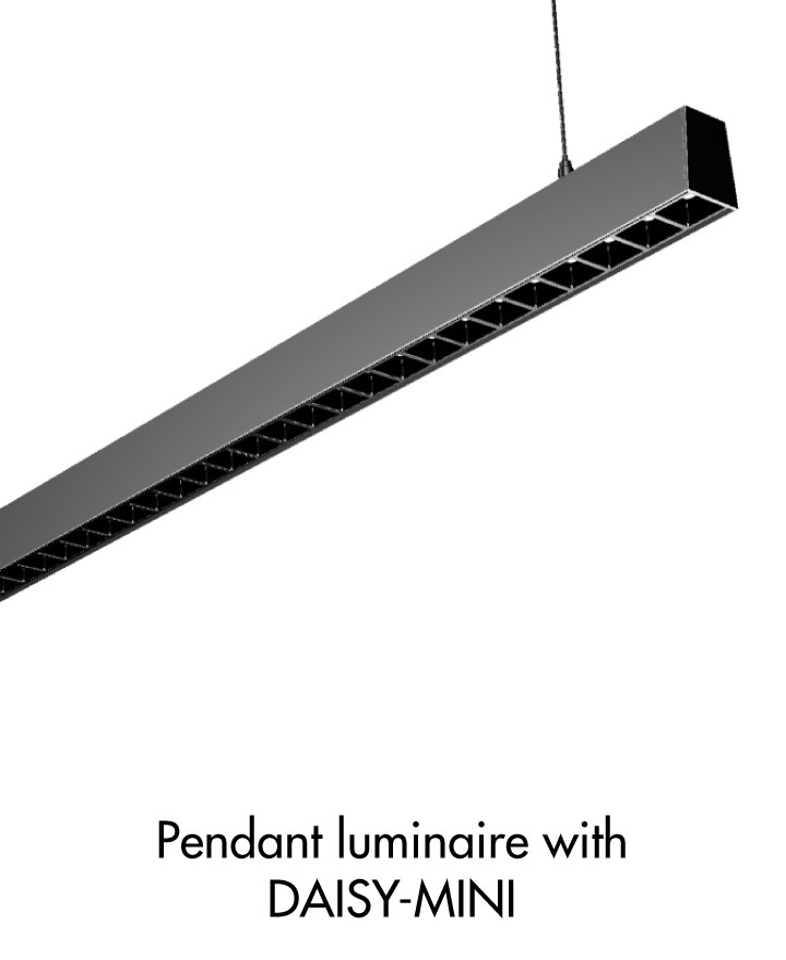 Pendant luminaire example with DAISY-MINI dark light optic