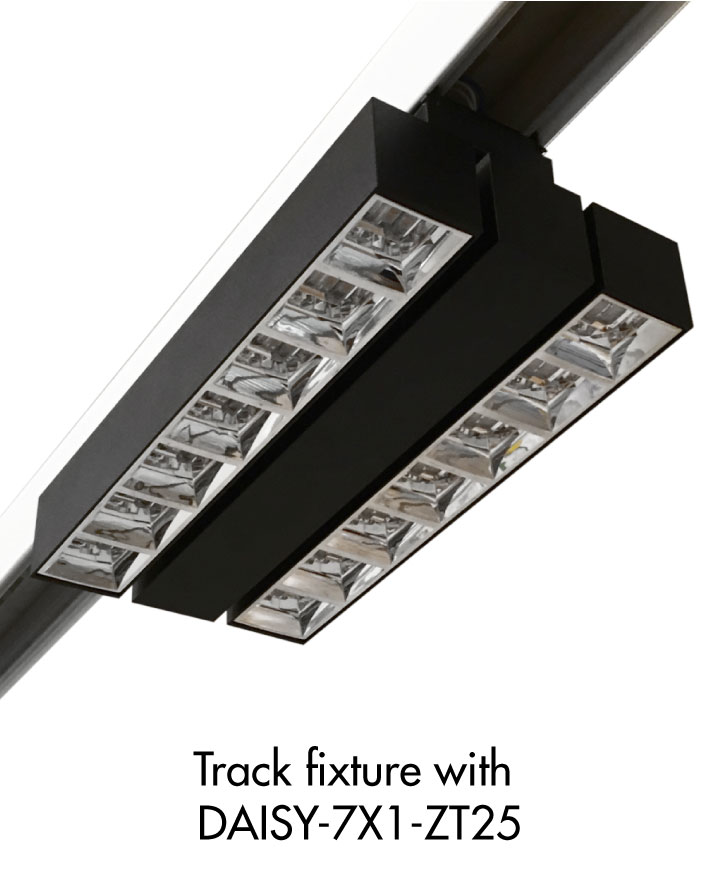 Track light luminaire example with LEDiL DAISY-7X1-ZT25 optics