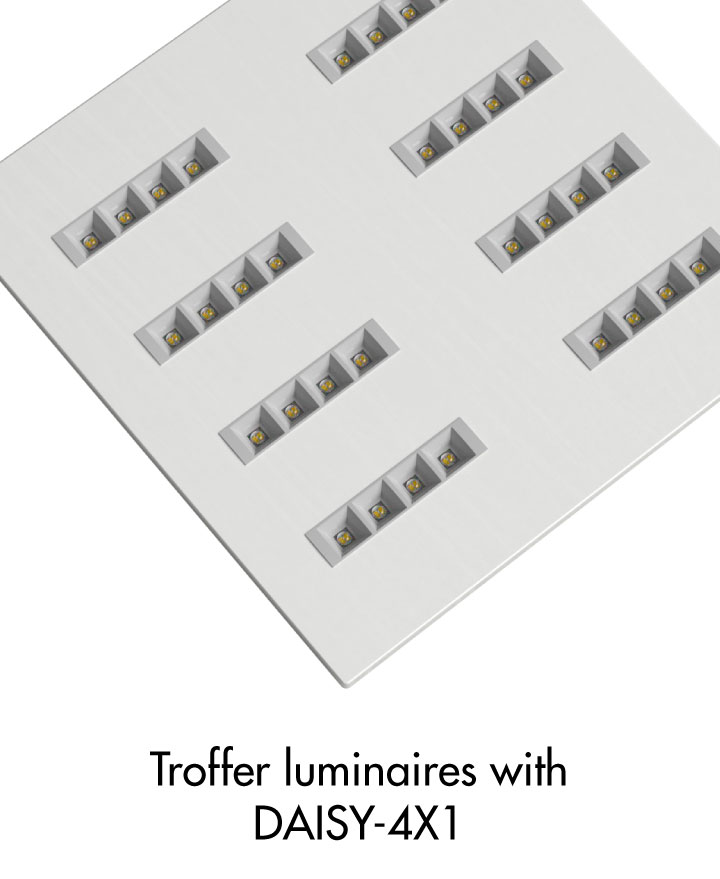 troffer luminaire example with LEDiL DAISY-4X1 Dark Light optics