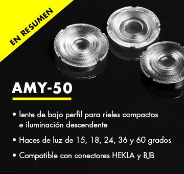 AMY-50: lente COB de bajo perfil para lámparas compactas